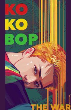 Cre: the owner/ as logo Kpop Exo, Exo Kokobop, Chanyeol Baekhyun, Chanbaek, K Pop, Exo Anime, Exo Fan Art, Culture Pop, Kpop Posters