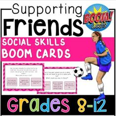 $4.00 This is a pack of 42 social skills boom cards. Each card features a situation relatable to teens, where the student must identify what they could either do or say to make their friend feel better. Buy now and add to your speech therapy tool kit!