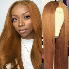Ginger Blonde Hair, Honey Blonde Hair Color, Honey Brown Hair, Ginger Hair Color, Hair Color For Black Hair, Brown Hair Colors, Blonde Lace Front Wigs, Straight Lace Front Wigs, Wig Hairstyles