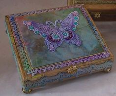 Butterfly Altered Cigar Box decorated with peacock colors