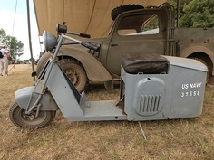 Early 1940s Cushman 32. United States (Nebraska). Widely used by U.S. Military in Italy during WWII, it is credited for being the inspiration for Innocenti's Lambretta and Piaggio's Vespa in late 1946 and early 1947.