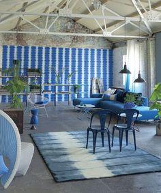 Designers Guild Savine wallpaper #blue #interior #design