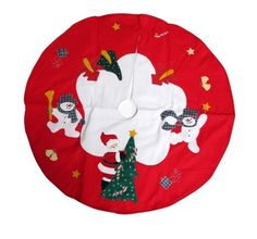 Santa and Frosty Friends Christmas Tree Skirt 36' -- Don't get left behind, see this great product offer  : Tree Skirts for Christmas