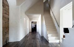 White stairs, reclaimed wood