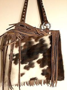 Raviani Western Leather Brown Brindle Cowhide Handbag Purse W Fringe 2 Usa