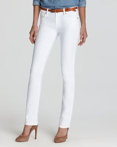 7 For All Mankind Jeans - Kimmie Straight Leg in Clean White