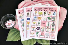 I thought it would be fun to play Bingo at Our Little Flowers Mother-Daughter Tea Party  this year.  Instead of using the All Saints Bingo ...