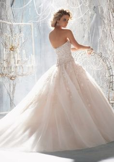Bridal Gown From Mori Lee By Madeline Gardner Style 1970 Elaborate Beading With Raised Embroidery On Tulle