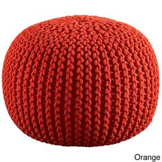 Orient Celebration Hand Knitted Pure Cotton Braid Pouf (Orange), Size Specialty