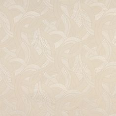 Ecru White Abstract  Brocade Upholstery Fabric