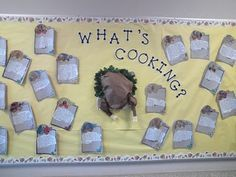 """Checkout this great post on Bulletin Board Ideas! (Staff can share their favorite thanksgiving memory or recipe then how to 'double"""" it for something math related"""")"""