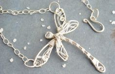 Silver Dragonfly Necklace Wire Wrapped Necklace by KUKLAstudio, $81.00