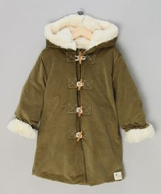 Take a look at this Olive Corduroy Faux Fur Toggle Coat - Infant & Kids by La faute à Voltaire on #zulily today!