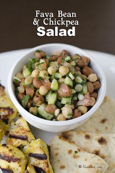 Fava Bean & Chickpea Salad (Insalaaddo Digir) Salade de Fèves et Pois Chiches سلطة الفول والحمص | Xawaash.com