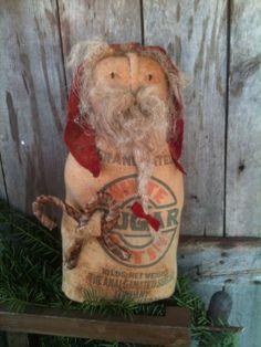 Primitive Santa Rag Stuffed Feedsack Cupboard Stump Doll tuck grungy candy canes #NaivePrimitive