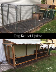 Dog Kennel Roof, Wire Dog Kennel, Dog Kennel And Run, Custom Dog Kennel, Cat Kennel, Diy Dog Run, Diy Dog Yard, Dog Kennel Designs, Kennel Ideas