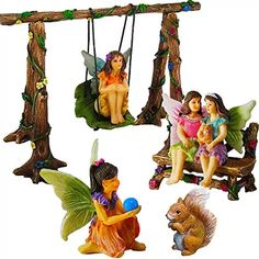 Mood Lab Fairy Garden Accessories Kit Miniature Figurines Hand Painted Swing Set of 6 pcs Outdoor House Decor >>> Click picture for more information. (This is an affiliate link). Best Friend Day, Friends Day, Dragon Table, Seasonal Decor, Holiday Decor, Garden Online, Outdoor Statues, Thing 1, Fairy Garden Accessories