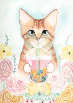 Spring Kitty Bubble Tea  Original Watercolor Cat by KilkennycatArt