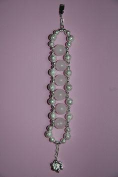 Bratara placata cu argint, pietre cuart roz