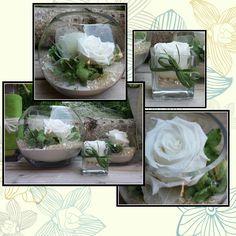vasi vetro con fiori stabilizzati
