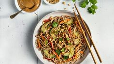 Soba Noodle Salad with Ginger Peanut Dressing . This soba salad is a great take-along lunch because the flavors of the peanut dressing develop over time.