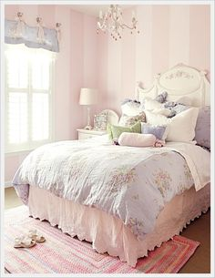 Shabby Chic Bedding - love the pale stripes on walls.