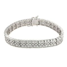 "Epiphany Platinum Clad Diamonique Multi Stone Wide 8"" Bracelet 208I #Epiphany #Link"