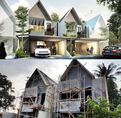 Modern Townhouse, Townhouse Designs, Roof Architecture, Minimalist Architecture, Modern Tiny House, Modern House Design, House Roof, Facade House, Facade Design