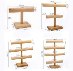 Wooden Necklace & Bracelet Jewelry Display Stand & Organizer,Beech