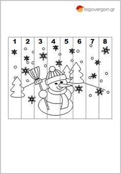 Παζλ αρίθμησης χιονάνθρωπος-Ζωγραφίζουμε το τοπίο με τον χιονάνθρωπο και κόβουμε κατά μήκος των γκρι γραμμών-περιγραμμάτων σχηματίζοντας έτσι τα κομμάτια του παζλ στα οποία υπάρχουν αριθμοί από το 1 έως το 8. Έπειτα μετράμε μέχρι το 8 ενώνοντας ένα ένα τα κομμάτια του παζλ με τη σειρά σχηματίζοντας την εικόνα που χρωματίσαμε. Noel Christmas, Winter Christmas, Paper Birds, Winter Crafts For Kids, Creative Kids, Math Games, Pre School, Toddler Activities, Coloring Pages