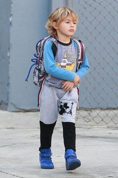 Noah Mazur wearing Jagged Culture Drum Set Baggies, Giuseppe Zanotti Taylor Sneakers, Pottery Barn Kids All-Over Spiderman Small Backpack and Rowdy Sprout Beatles Yellow Submarine Raglan Tee