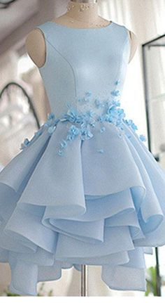 Sky Blue Homecoming Dress,A-line Scoop Neck Prom Dress,Satin
