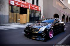 Black Wide Body Infiniti with some deep dish purple-anodized wheels. Wish we had more info on this Infiniti but it was never provided. Car Photo Submitted by: Unknown via Submission Page Infiniti G37, Nissan Infiniti, My Dream Car, Dream Cars, Pink Wheels, Truck Rims, Pink Rims, Car Goals, Wide Body