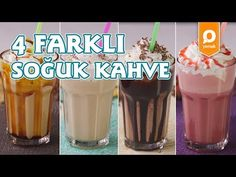 4 Different Cold Coffee - Beverage Recipes - xenia Iftar, Coffee Recipes, Toffee, Milkshake, Frappe, Coffee Drinks, Smoothies, Beverages, Deserts