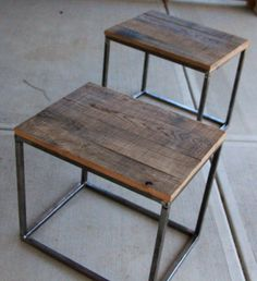 Mountain Wood Side Table by 2ndStoryWoodCo on Etsy