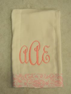 Monogram Burp Rag by treasures638 on Etsy, $10.50