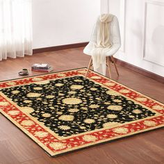 Rugsville Vegetable dyes Black Rust Wool Rug 10310