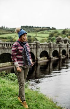 Barbour fairisle jumper with plaid trousers and Timberland boots