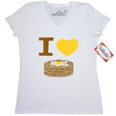 Inktastic I Love Pancakes Women's V-Neck T-Shirt Heart Hot Cakes Breakfast Stack Of Pinkinkartkdis Food Drinks Chef Cook Kitchen Coffee Pinkinkartkids Clothing Apparel Tees Adult, Size: XXL, White