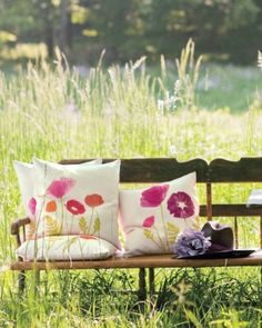 60 summer decorating ideas by Marth Stewart! Like these pillows decorated with Block Print Poppies! @center/276964/60-days-summer