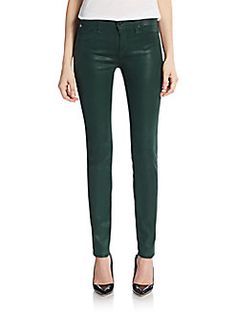Coated Mid-Rise Super-Skinny Jeans