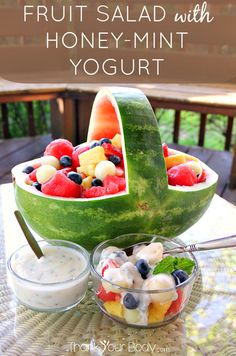 Try this luscious fruit salad drizzled with refreshing honey-mint yogurt! Make it fancy in a watermelon basket.