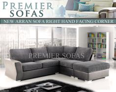 NEW ARRAN LEATHER & FABRIC CORNER SOFA SCATTER BACK OR FORMAL BACK SOFA IN GREY