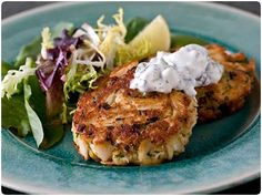 Crab Cakes with Homemade Tartar Sauce, to make with my new Curtis Stone presentation rings!