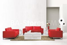 Manhattan 3 PC Red Leather Sofa Set (Sofa, Loveseat and Chair) - VIG Furniture