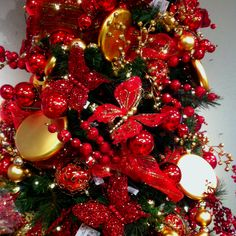 Red and gold butterfly Christmas tree. Similar to my red, black and silver butterfly christmas tree.