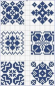 Blue tiles 01 | Free chart for cross-stitch, filet crochet | Chart for pattern - Gráfico
