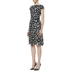 Carolina Herrera Flower Printed Dress ($2,490) ❤ liked on Polyvore featuring dresses, apparel & accessories, cap sleeve dress, lining dress, carolina herrera, boatneck dress and carolina herrera dresses