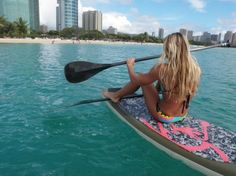 paddle boarding on such a cute board