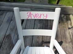 Customized Girls Rocking Chair/ Kids Furniture / Toddler Rocking Chair / Pink and White / Choose Color and Personalized Name by…